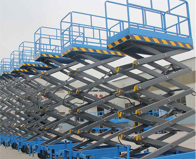 What are the characteristics of the movable scissors lift platform